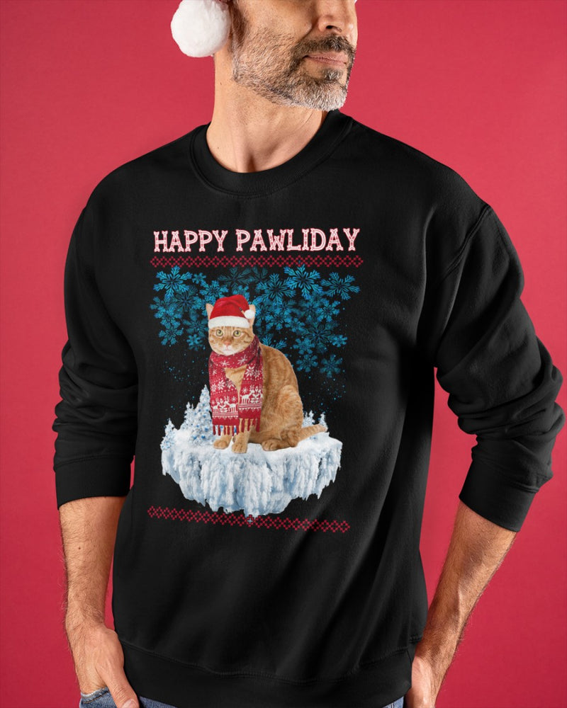 Cat Happy Pawliday Christmas Snowflake Sweatshirt Sweater
