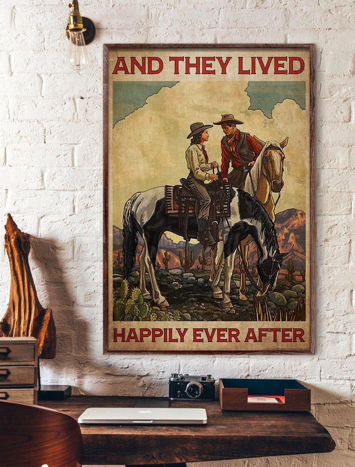 Cowboy Cowgirl Couple Love Horse Riding Happily Ever After Valentine Gift Poster