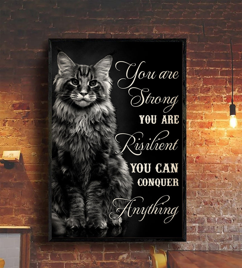 Cat Strong Resilient Conquer Anything Black Poster