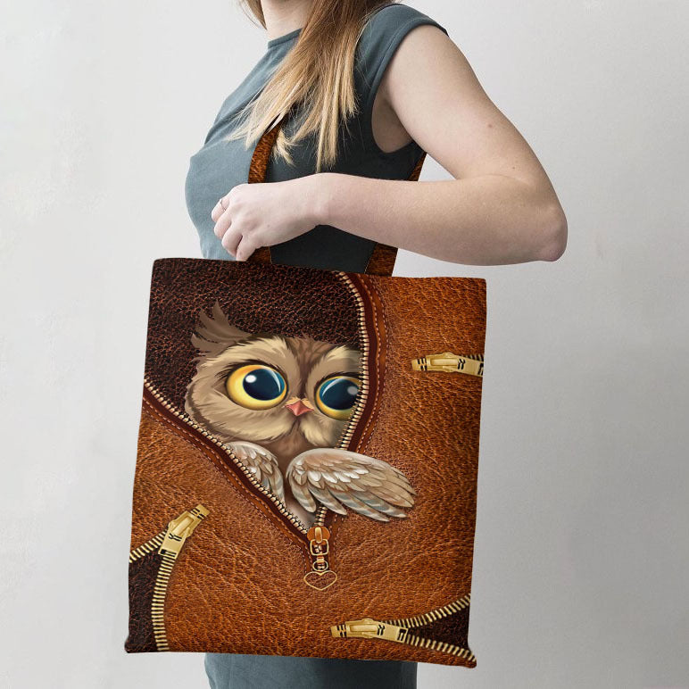 Love Owl Leather Fake 3D Printed Leather Pattern Tote Bag