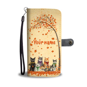 Customized A Girl Loves Cat And Autumn Wallet Case
