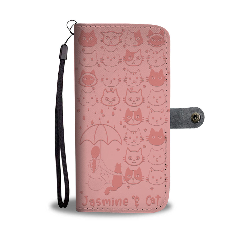 Customized Girls And Cats Wallet Case