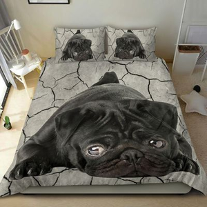 Love Pug Dog Lying Drought 3D Printed Gift Bedding Set