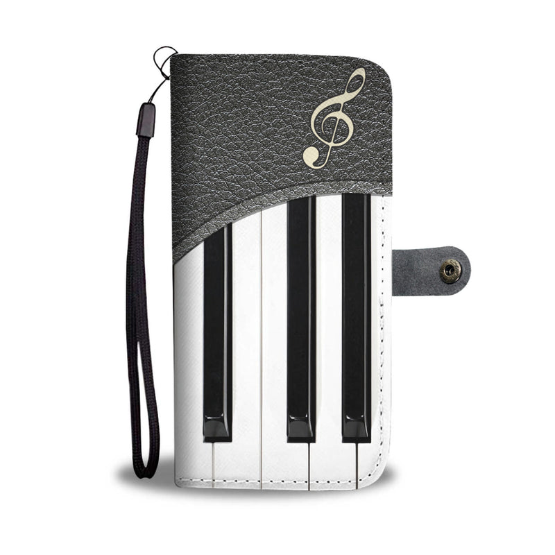 Customized Love Piano Leather Fake 3D Printed Wallet Phone Case
