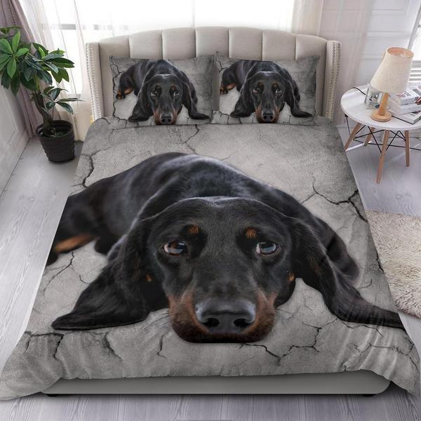 Love Dachshund Dog Lying Drought 3D Printed Gift Bedding Set