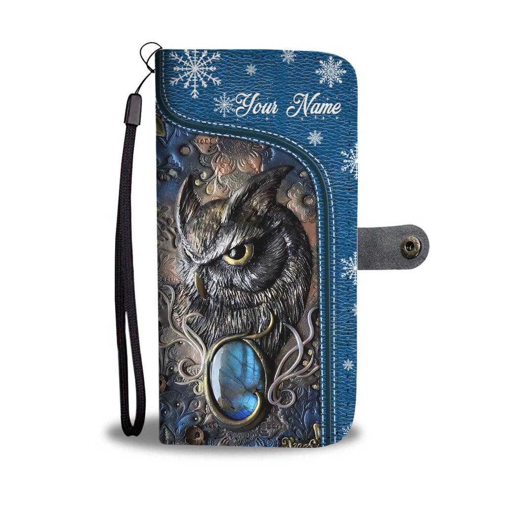 Customized Love Magic Owl Blue 3D Printed Leather Pattern Wallet Phone Case