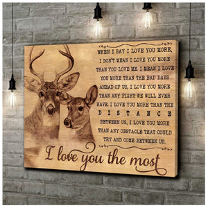 Deer Couple Love You The Most Meaningful Quote Vintage Valentine Gift Poster