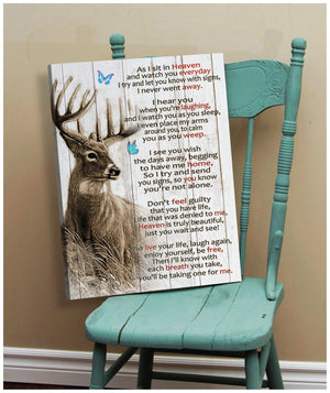 Deer Art Remember Heaven Meaningful Quote Gift Poster