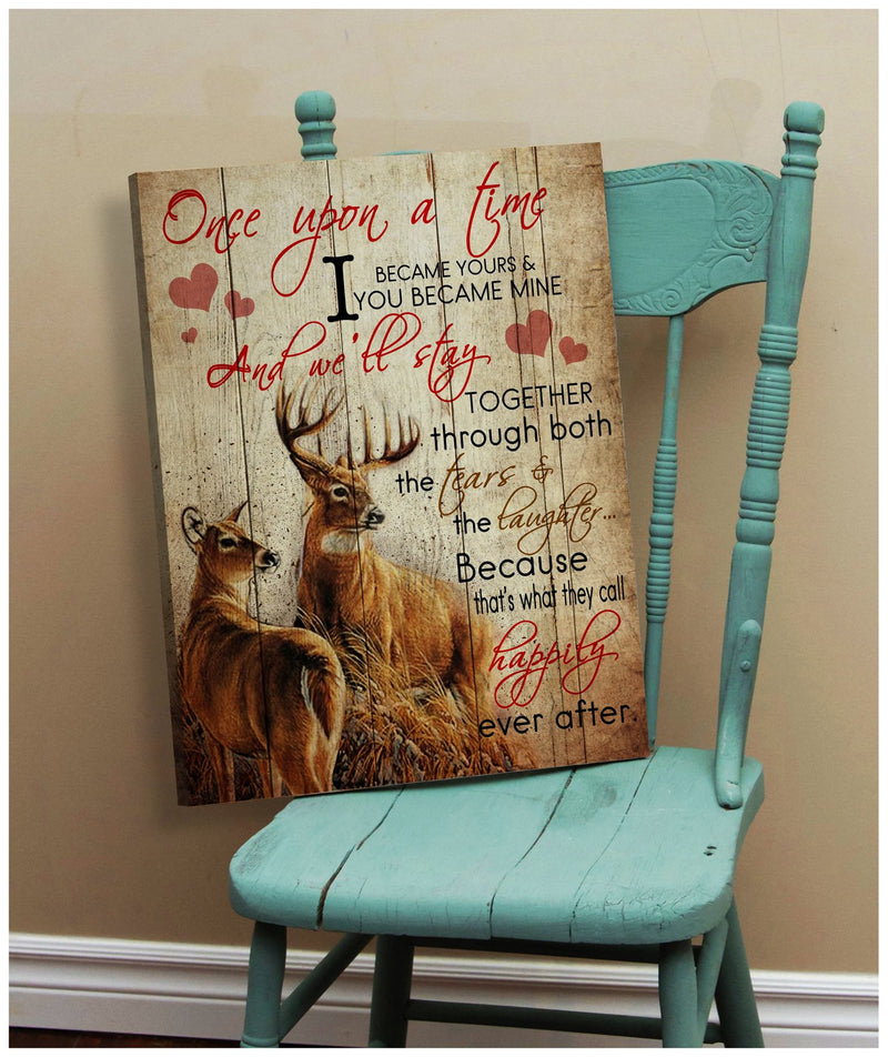 Couple Deer Stay Together Meaningful Quote Valentine Gift Poster