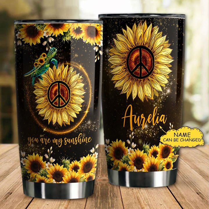 Personalized Customized Love Sunflower Hippie Sea Turtle Tumbler