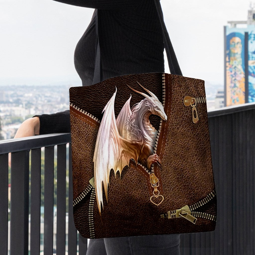 Love Dragon Art Leather Fake 3D Printed Leather Pattern Tote Bag