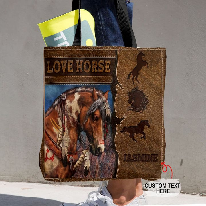 Personalized Customized Love Horse Native America 3D Printed Leather Pattern Tote Bag
