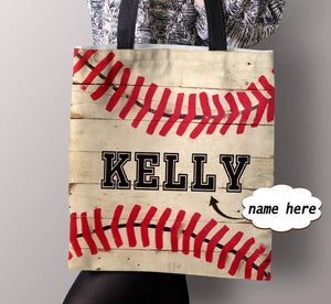 Personalized Customized Sofball Love Baseball Vintage Tote Bag