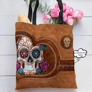 Personalized Customized Love Sugar Skull 3D Printed Leather Heart Pattern Tote Bag