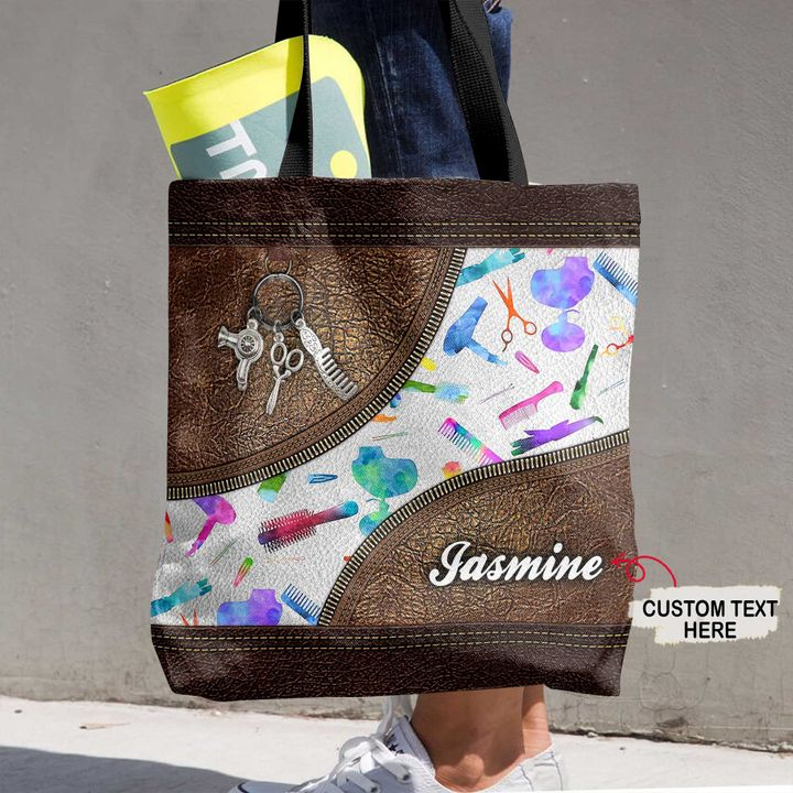 Personalized Customized Hair Stylist Hologram 3D Printed Leather Pattern Tote Bag
