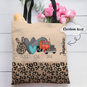 Personalized Customized Glitter Leopard Peace Love Haul Tote Bag