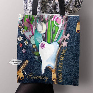Personalized Customized Peace Loce Dental Dentist 3D Printed Leather Pattern Tote Bag