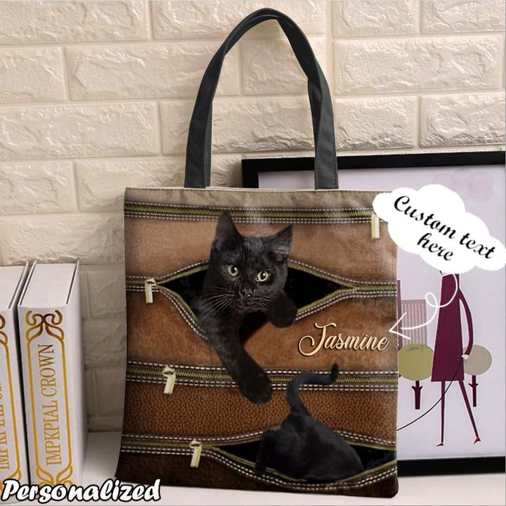 Personalized Customized Love Black Cat 3D Printed Leather Pattern Tote Bag