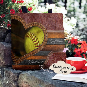 Personalized Customized Love Softball 3D Printed Leather Pattern Tote Bag