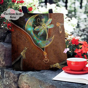 Personalized Customized Dragon Moon Child 3D Printed Leather Pattern Tote Bag