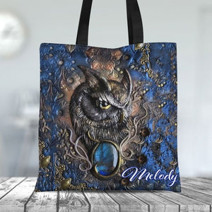 Customized Love Owl Stoned Art Tote Bag