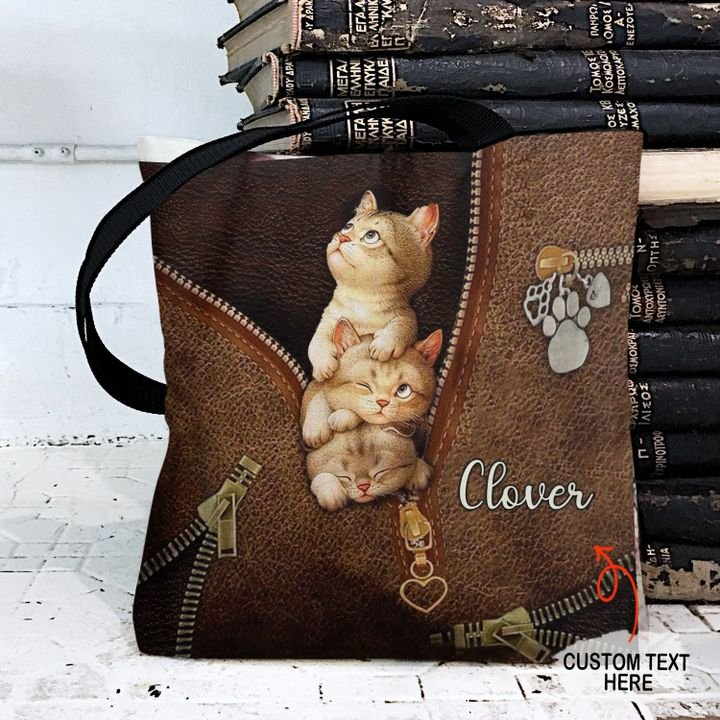 Personalized Customized Love Cats 3D Printed Leather Pattern Tote Bag