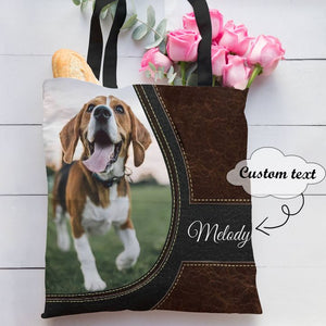 Personalized Customized Love Beagle Dog 3D Printed Leather Pattern Tote Bag