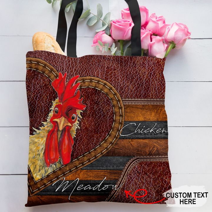 Personalized Customized Love Chicken 3D Printed Leather Pattern Tote Bag