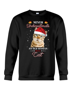 Never Underestimate An Old Man With A Cat Christmas Gift Sweatshirt Sweater