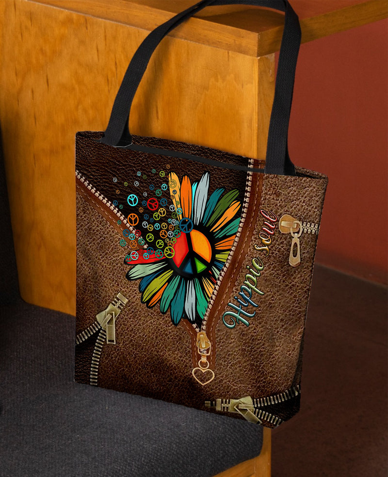 Hippie Soul Lover Leather Fake 3D Printed Leather Pattern Tote Bag