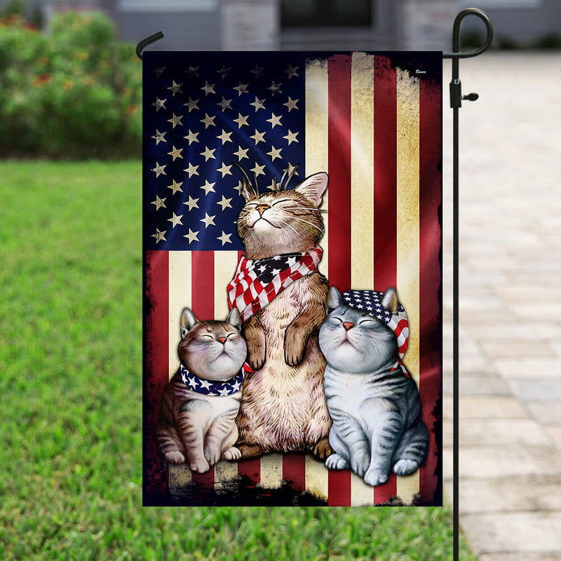 Three Cats American Flag