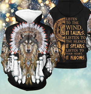 Love Wolf Native American Full Printed Gift 3D Hoodie