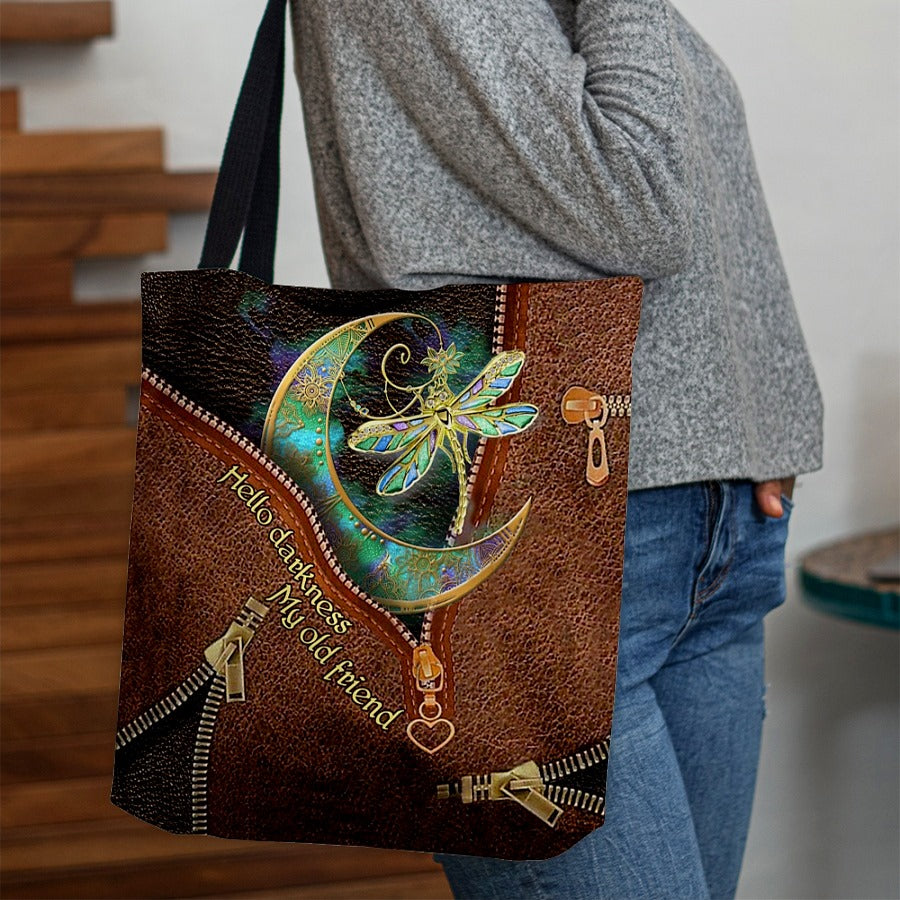 Love Dragonfly Leather Fake 3D Printed Leather Pattern Tote Bag