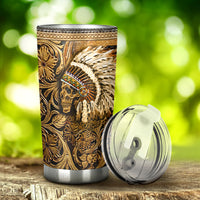 Native American Leather Pattern Print Tumbler