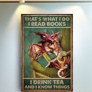 Love Dragon Read Books Drink Tea Know Things Vintage Christmas Gift Poster