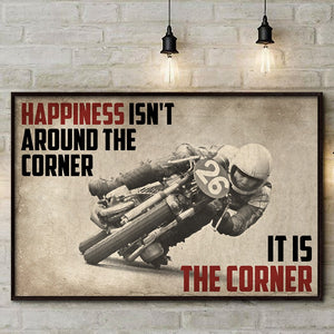 Happiness Is The Corner Motocycle Love Racing Vintage Poster