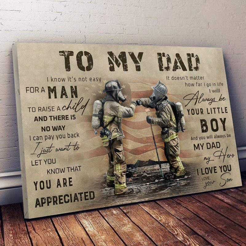 From Son To Dad Firefighter Meaningful Quote Christmas Gift Poster