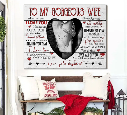 Hold Hand Couple Love From Husband To Gorgeous Wife Meaningful Quote Valentine Gift Poster