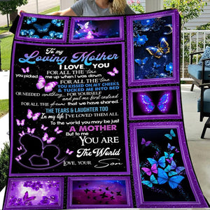 To My Loving Mother Butterfly Purple Gift For Mom From Son Christmas Gift Quilt