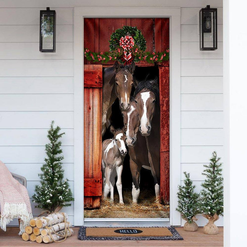 Happy Family Horse Farming Christmas Wooden Printed Door Cover