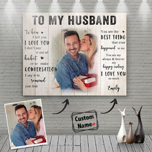 Personalized Customized Picture and Name To Husband Meaningful Quote Love Couple Valentine Gift Poster