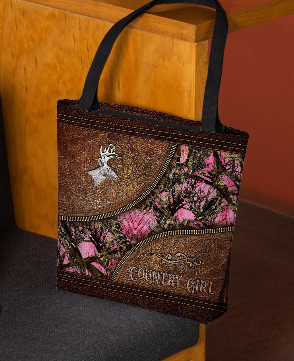 Coutry Girl Deer Camoflage Leather Fake 3D Printed Leather Pattern Tote Bag