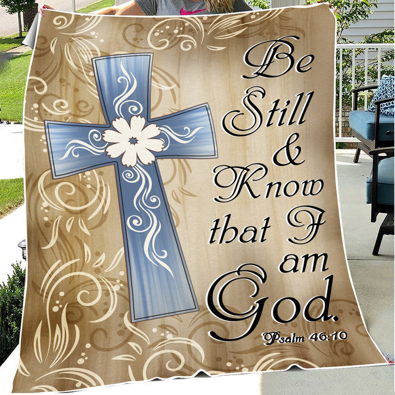 Still And Know That I Am God Psalm Christian Jesus Cross Christmas Gift Quilt