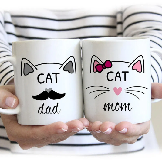Cat Dad Cat Mom Couple Gift Valentine Mug