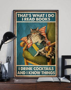 That What I Do Read Books Drink Cocktails Know Things Vintage Poster