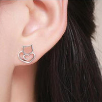 Cat Love Silver Stud Earrings - Kawaii Kitty, The cutest Cat themed Gifts for cat lovers