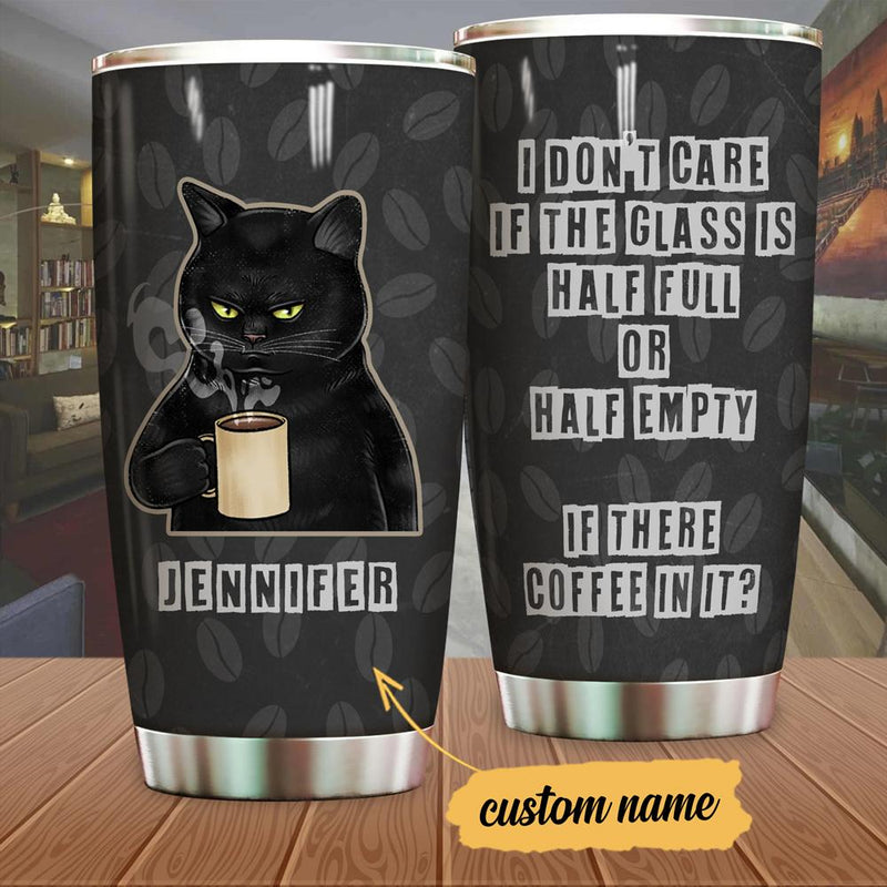 Customized Coffee Cat Tumbler I Don't Care Cat Print Stainless Steel Tumbler
