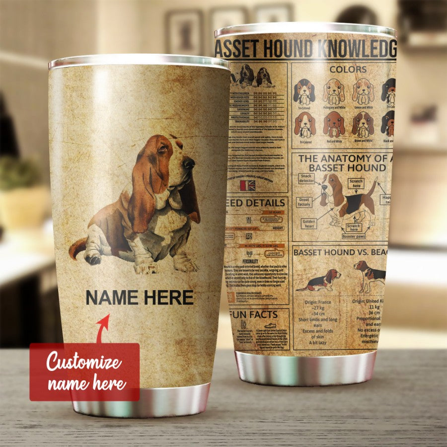 Customized Basset Hound Dog Knowledge 3D Printed Tumbler