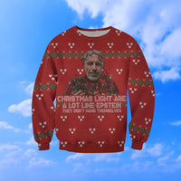 Christmas Lights Epstein Funny 3D Ugly Sweater Sweatshirt