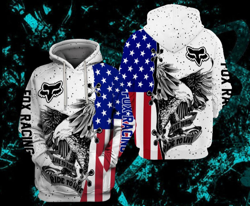US Eagle FbR Love To Ride Printed 3D Hoodie